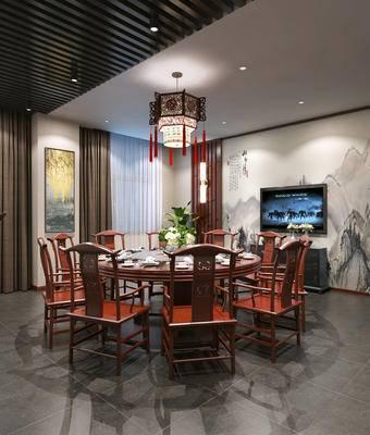 中式餐厅, 包间, 植物, 餐桌椅, 包房, 包厢, 中式