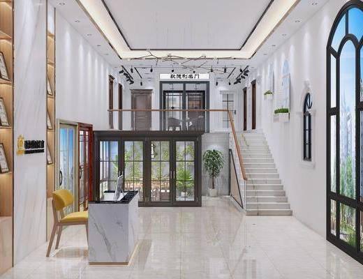 门窗专卖店, 楼梯, 桌椅组合, 前台接待, 现代
