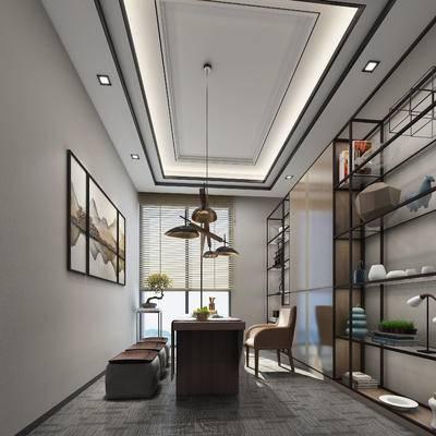 新中式, 书房, 茶室, 吊灯, 单椅, 茶具, 茶桌, 装饰画, 置物架, 装饰架, 陈设品, 摆件
