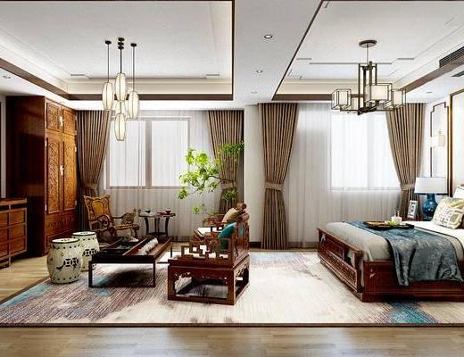 新中式, 卧室, 双人床, 茶几, 沙发, 电视柜, 床具, 摇椅, 衣柜, 装饰柜, 吊灯