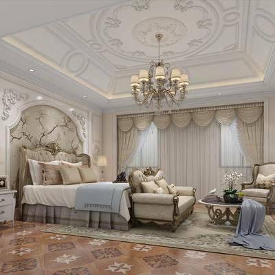 欧式卧室, 欧式, 卧室, 欧式床头柜, 欧式床, 欧式沙发