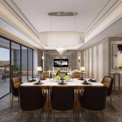 现代餐厅, 现代, 餐厅, 餐桌椅, 装饰画, 吊灯, 植物, 休闲椅