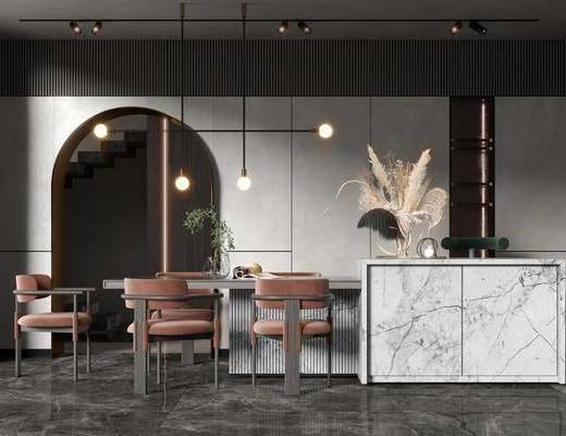 餐厅, 餐桌, 吊灯, 吧台, 摆件组合