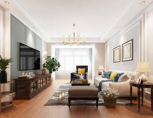 客厅, 多人沙发, 边几, 台灯, 装饰画, 挂画, 吊灯, 装饰柜, 电视柜, 边柜, 摆件, 装饰品, 陈设品, 美式
