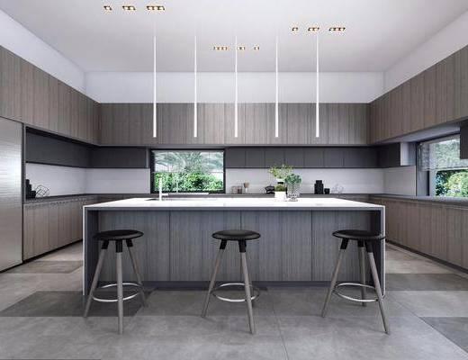 厨房, 厨具, 单人椅, 吧椅, 吊灯, 摆件, 装饰品, 陈设品, 现代