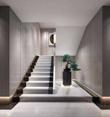 楼梯间, 景观小品, 盆栽植物