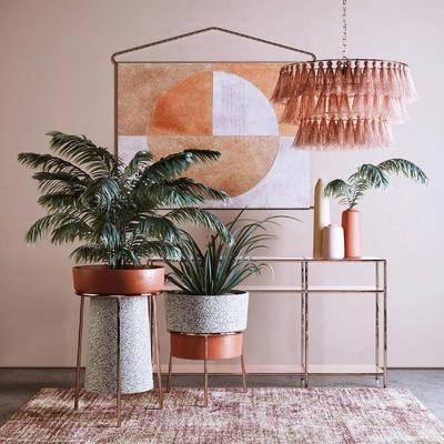 地毯, 花盆, 吊灯, 墙饰挂饰, 边柜