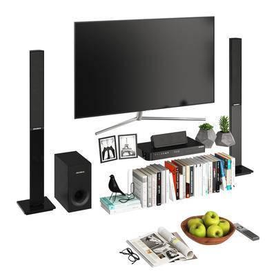 电视机, 音响, 现代, 陈设品, 书籍, 摆件