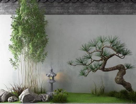 景观园林, 新中式景观园林, 树木, 植物, 石头
