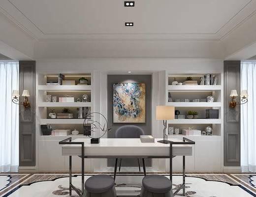 桌子, 椅子, 桌椅组合, 凳子, 装饰画, 置物柜