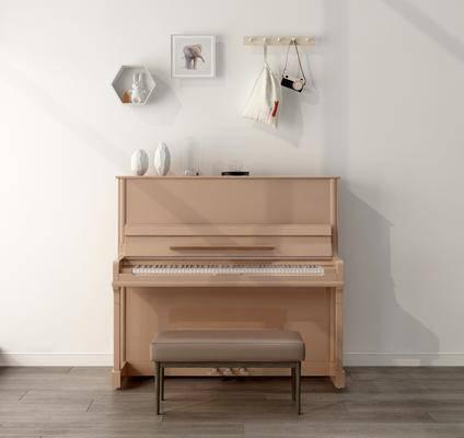 北欧钢琴3d模型, 钢琴, 粉色钢琴