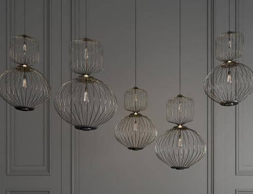金属吊灯, 吊灯组合, 铁艺吊灯, 个性吊灯, 新中式
