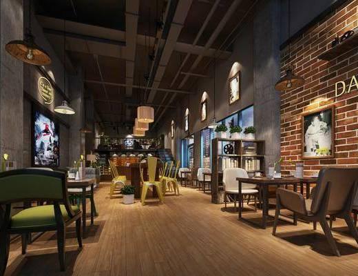 奶茶店, 桌椅组合, 墙饰
