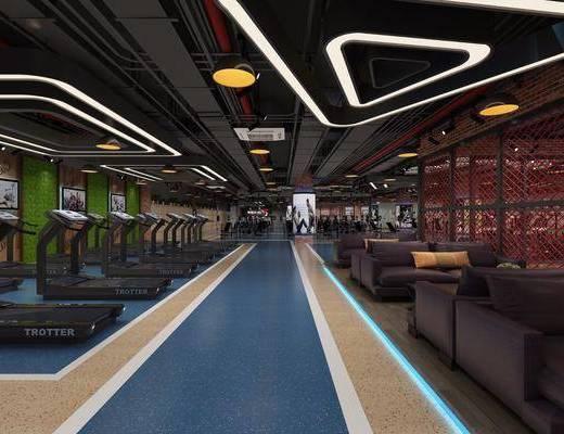 健身房, 健身器材, 前台, 双人沙发, 多人沙发, 茶几, 吊灯, 工业风