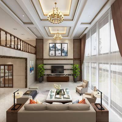 中式风格, 中空, 客厅