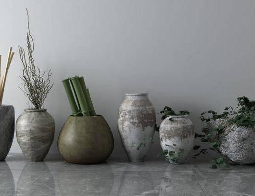 花瓶组合, 陶瓷器皿, 中式