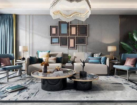 沙發組合, 沙發茶幾組合, 臺燈組合, 吊燈, 墻飾, 擺件組合, 現代