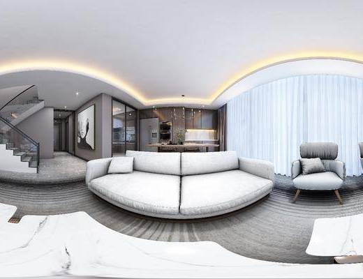 电视背景墙, 沙发组合, 单椅, 桌椅组合, 吊灯