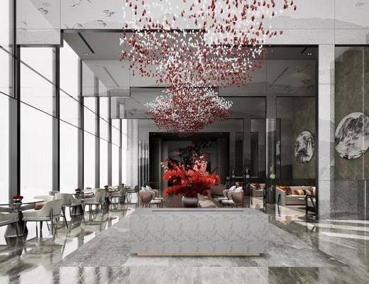 售楼处, 桌椅组合, 吊饰, 景观小品, 植物, 墙饰