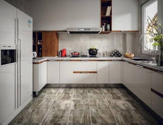 现代, 厨房, 橱柜, 厨房用具