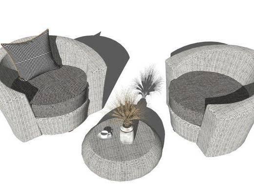 单椅, 单人沙发, 茶几, 桌花