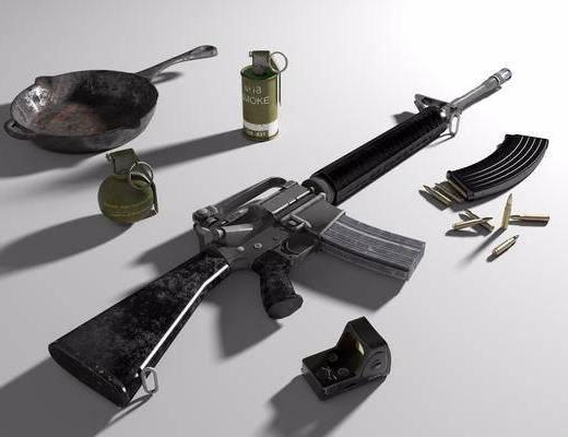 M16A4, 手雷, 烟雾弹, 平底锅, 全息瞄准镜