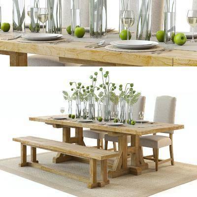 餐桌, 椅子, 单椅, 桌子, 茶具, 植物, 玻璃瓶, 装饰品, 摆件, 餐具, 现代, 水果