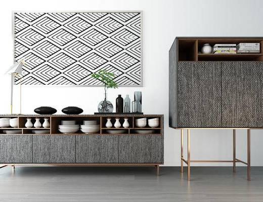现代, 电视柜, 边柜, 装饰品, 摆件
