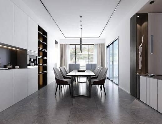 客厅, 餐厅, 多人沙发, 转角沙发, 茶几, 单人沙发, 落地灯, 人物画, 装饰画, 餐桌, 餐椅, 单人椅, 吊灯, 现代
