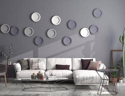 沙发组合, 多人沙发, 转角沙发, 墙饰, 盆栽, 单人椅, 绿植植物, 茶几, 边几, 北欧