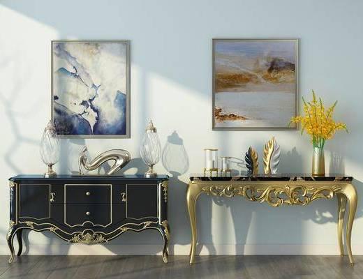 边柜组合, 边几, 装饰画, 挂画, 摆件, 装饰品, 陈设品, 北欧