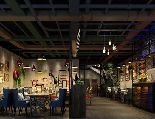 餐厅, 餐桌椅, 桌椅组合, 吊灯, 吧桌椅, 餐具, 工业风