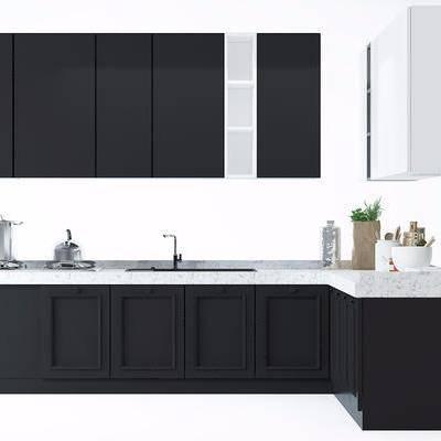 橱柜, 厨具, 瓷器, 摆件, 洗手台, 烟灶消, 抽油烟机, 现代