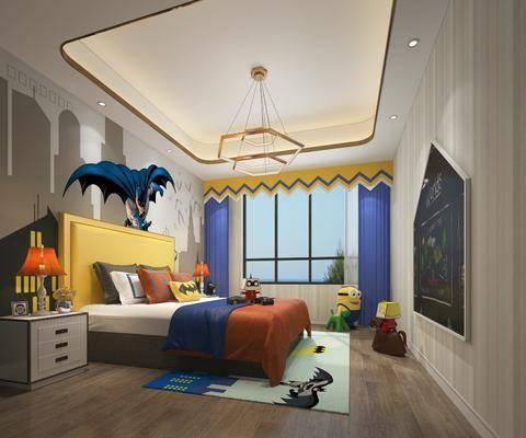 现代, 儿童房, 双人床, 边柜, 台灯, 吊灯, 黑板, 玩具, 摆件