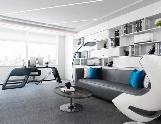 办公室, 经理室, 沙发组合, 沙发茶几组合, 书柜, 置物柜