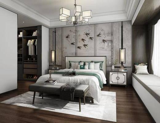 中式卧室, 双人床, 床尾凳, 吊灯, 床头柜, 衣柜