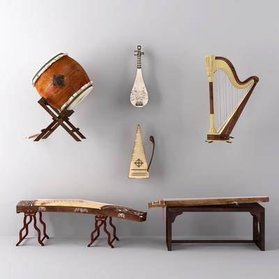 鼓琶, 古筝, 竖琴, 琵琶, 古琴, 乐器