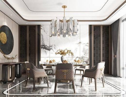 餐具, 装饰品, 墙饰, 餐桌, 吊灯, 背景墙, 玄关柜