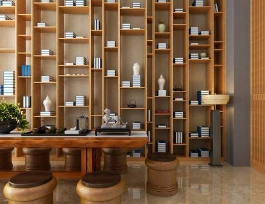 茶室, 书桌, 茶桌, 凳子, 装饰柜, 书柜, 落地灯, 书籍, 摆件, 装饰品, 陈设品, 新中式