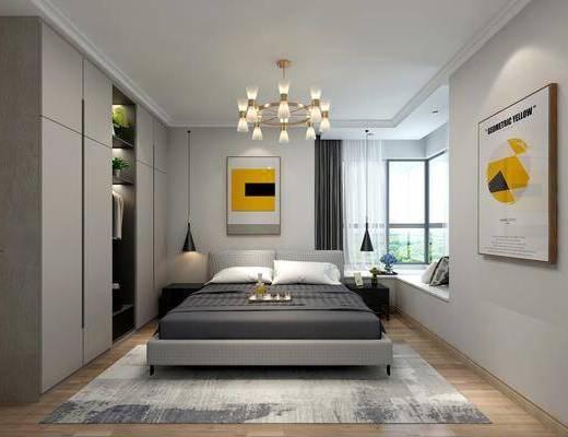 卧室, 床头柜, 吊灯, 装饰画, 挂画, 衣柜, 装饰柜, 双人床, 服饰, 北欧