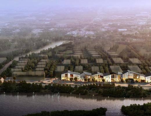 中式园林建筑, 古建, 中国风, 鸟瞰