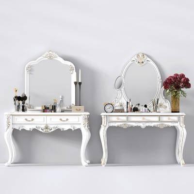 梳妆台, 镜子, 欧式, 简欧, 化妆品, 护肤品