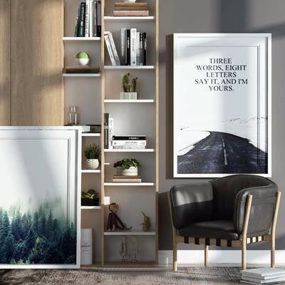 单人沙发, 单人椅, 装饰画, 挂画, 书柜, 装饰柜, 装饰品, 陈设品, 椅子组合, 北欧