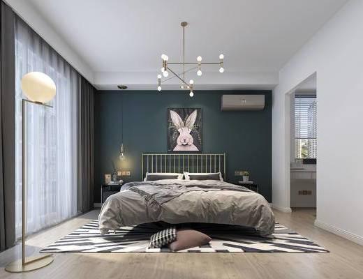 双人床, 背景墙, 吊灯, 落地灯, 床头柜