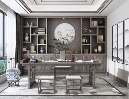 桌椅组合, 书柜, 装饰画