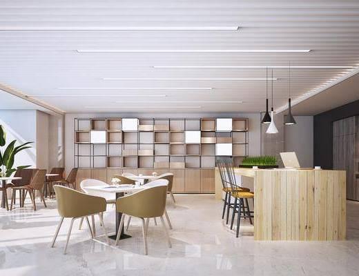 茶水间, 桌椅组合, 吊灯, 吧台