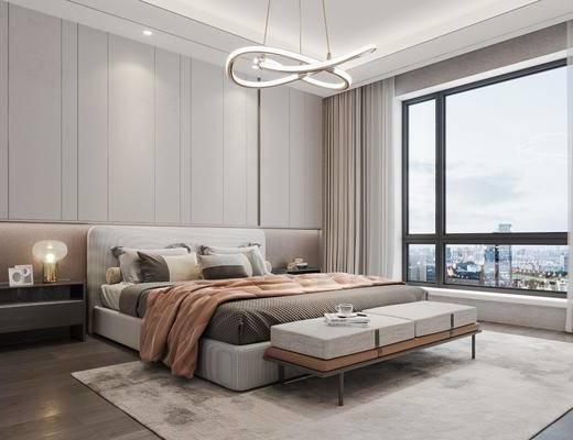 新中式, 轻奢, 卧室, 家装