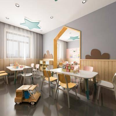 现代, 幼儿园, 书桌, 椅子