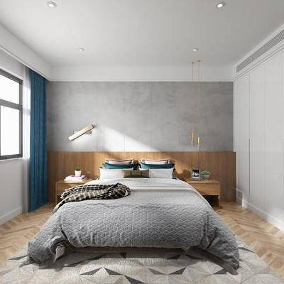 现代卧室, 卧室, 现代, 布艺床, 金属吊灯, 台灯, 床头柜