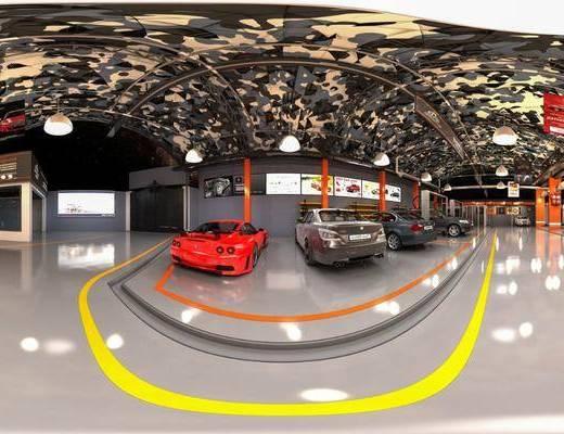 修理场, 汽车组合, 工装全景, 现代